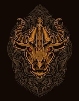 Ilustração de cabeça de touro viking com ornamento de gravura vintage