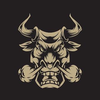 Ilustração de cabeça de touro zangada