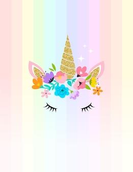 Ilustração de cabeça de unicórnio com flores