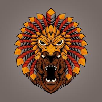 Ilustração de cabeça de urso com máscara de águia