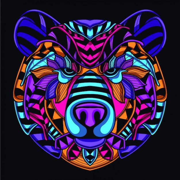 Ilustração de cabeça de urso decorativo