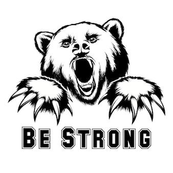 Ilustração de cabeça de urso zangado