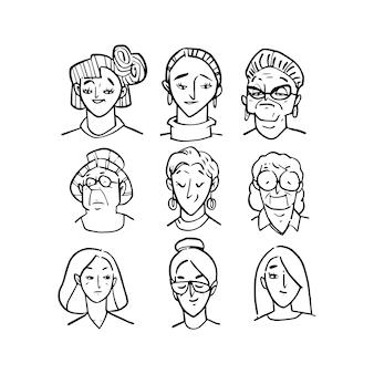 Ilustração de cabeça de várias mulheres