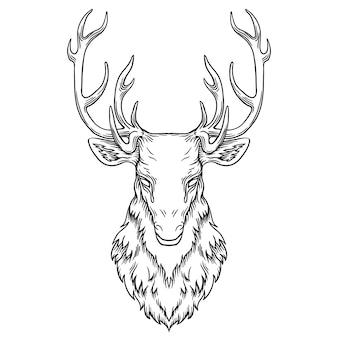 Ilustração de cabeça de veado, desenho, gravura, vetor de arte de linha de tinta