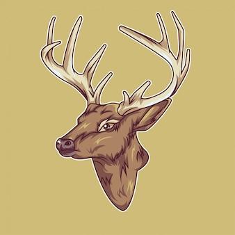 Ilustração de cabeça de veado