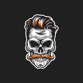 Ilustração de cabeça de vetor de crânio hipster
