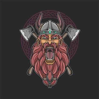 Ilustração de cabeça de viking bárbaro com machado cruzado