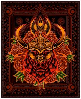 Ilustração de cabeça de viking de javali com flor de rosa