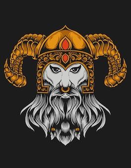 Ilustração de cabeça de viking na superfície preta