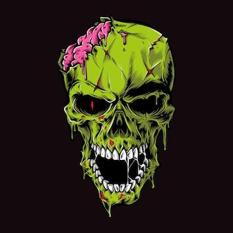 Ilustração de cabeça de zumbi assustador
