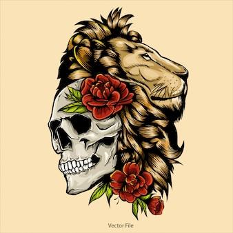 Ilustração de cabeça e crânio de leão, vetor de cabeça de leão, editável e detalhada