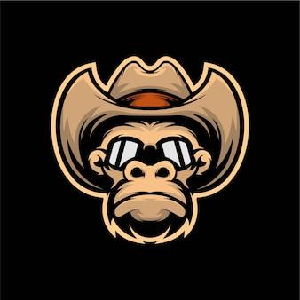 Ilustração de cabeça gorila cowboy mascote