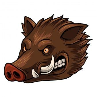 Ilustração, de, cabeça, javali selvagem, mascote