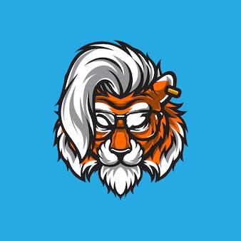 Ilustração de cabeça logo tigre