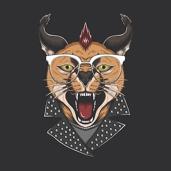 Ilustração de cabeça punk de gato caracal