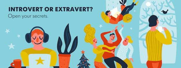 Ilustração de cabeçalho introvertido ou extrovertido