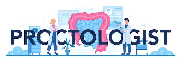 Ilustração de cabeçalho tipográfico de proctologista