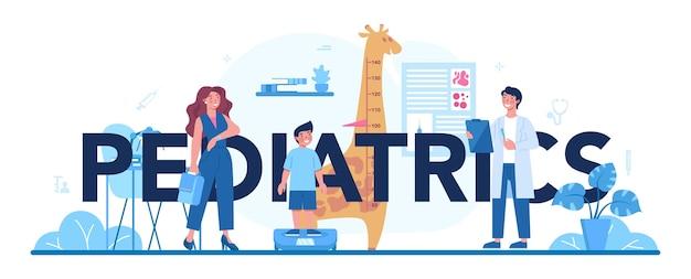 Ilustração de cabeçalho tipográfico em pediatria