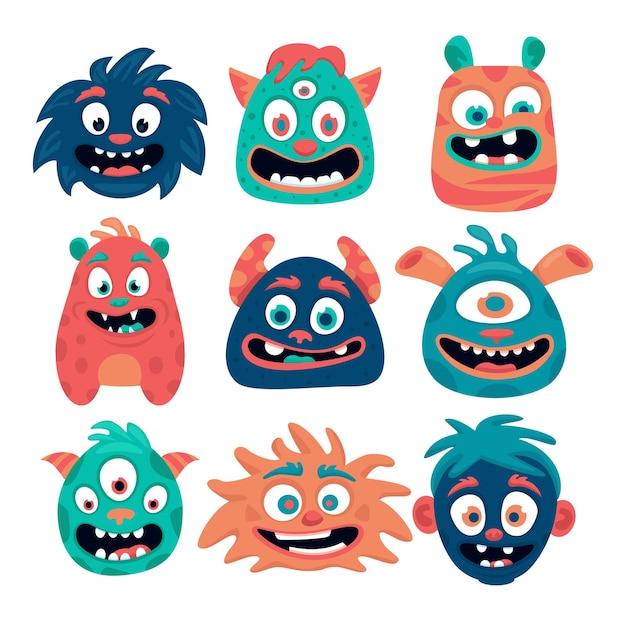 Ilustração de cabeças de vários monstros fofos