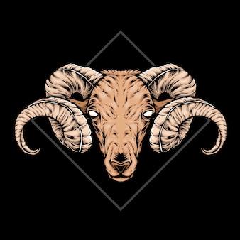 Ilustração de cabra com cabeça de chifres curvos