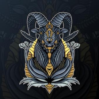 Ilustração de cabra com flor e ornamento zentangle