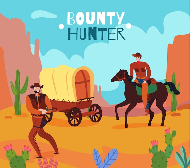 Ilustração de caçador de recompensas no grand canyon
