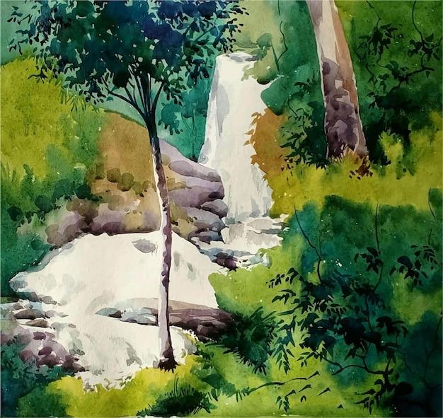 Ilustração de cachoeira aquarela desenhada à mão na montanha