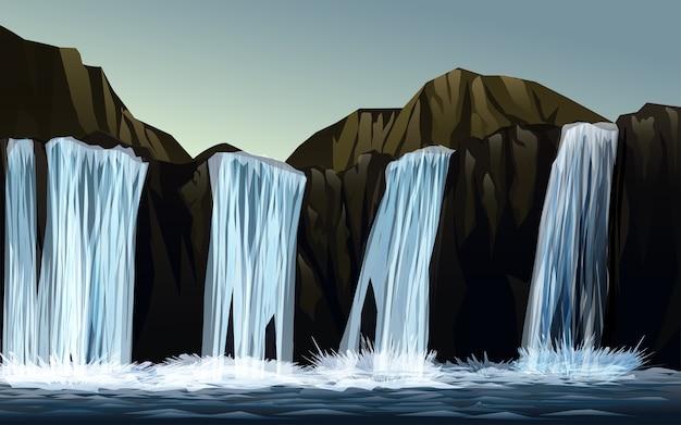 Ilustração de cachoeira com montanhas
