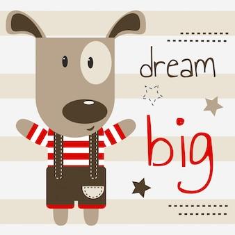 Ilustração de cachorrinho fofo com grande texto de sonho