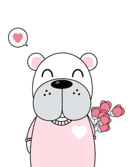 Ilustração de cachorro bonito apaixonado, segurando flores. vetor eps 10.