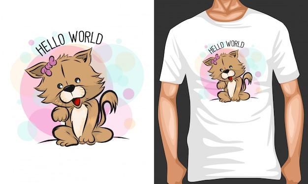 Ilustração de cachorro bonito dos desenhos animados e design de merchandising
