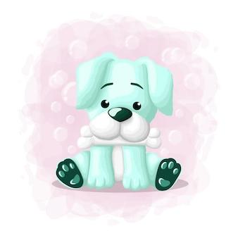Ilustração de cachorro bonito dos desenhos animados