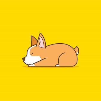Ilustração de cachorro corgi bonito