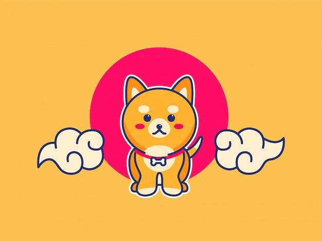 Ilustração de cachorro filhote de cachorro bonito