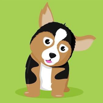 Ilustração de cachorro fofa de três cores sobre fundo verde