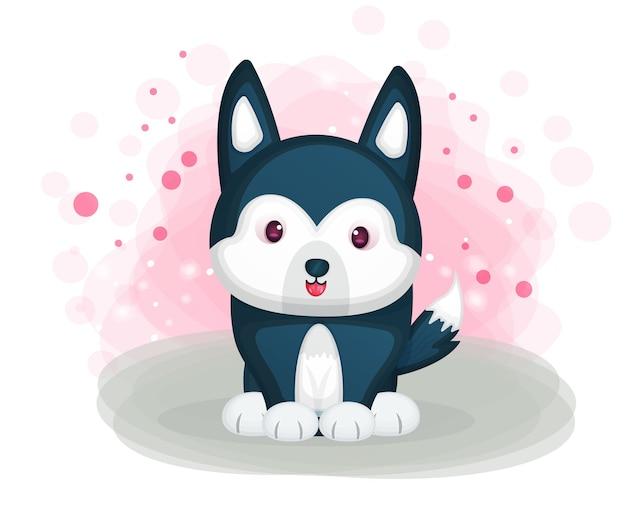 Ilustração de cachorro husky fofo