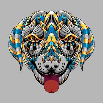 Ilustração de cachorro, ilustração colorida zentangle