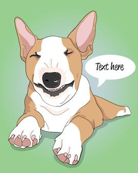 Ilustração de cachorro legal desenhada de mão