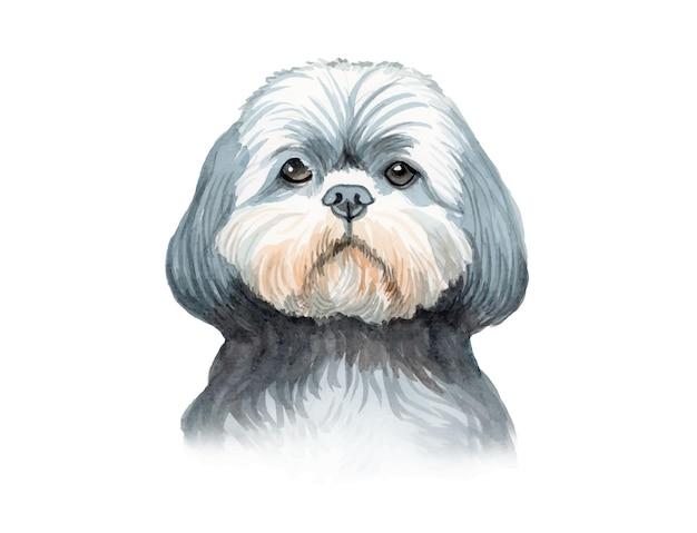Ilustração de cachorro pintada à mão em aquarela