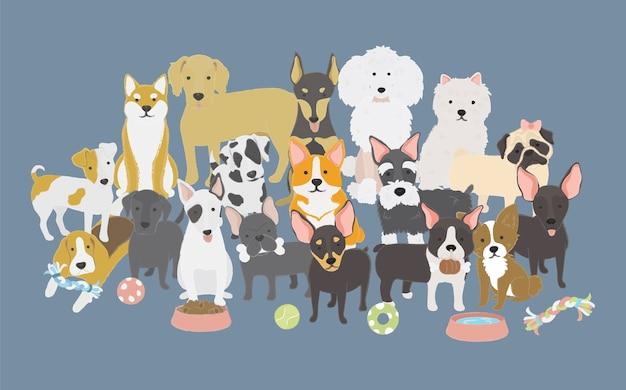 Ilustração, de, cachorros, cobrança