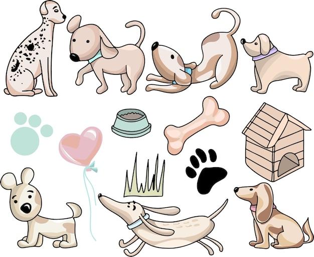 Ilustração de cachorros engraçados fofos