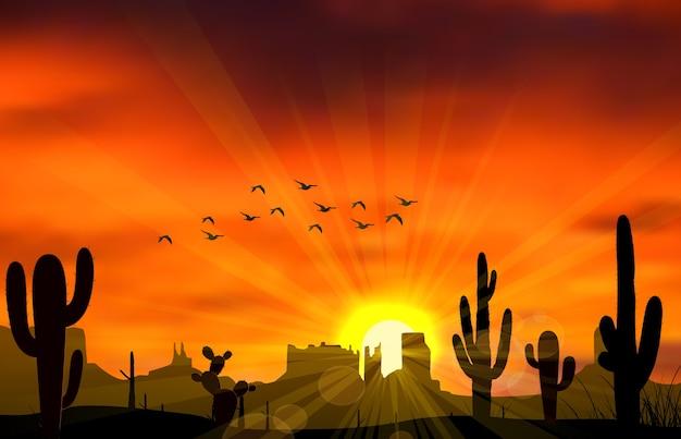 Ilustração de cacto quando o pôr do sol Vetor Premium