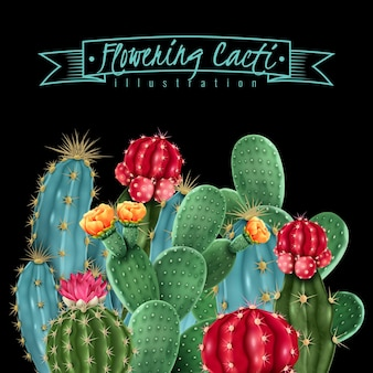 Ilustração de cactos floridos em estilo aquarela