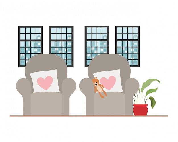 Ilustração de cadeira confortável em casa