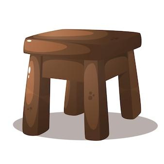 Ilustração de cadeira de madeira fofa de desenho animado