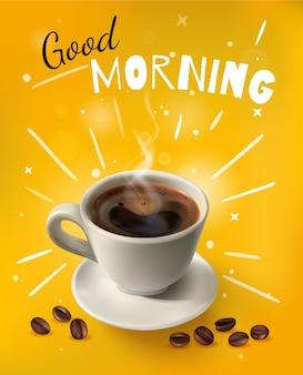 Ilustração de café amarelo brilhante e realista