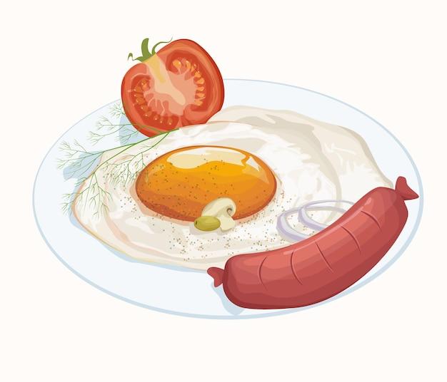 Ilustração de café da manhã com ovos e linguiça