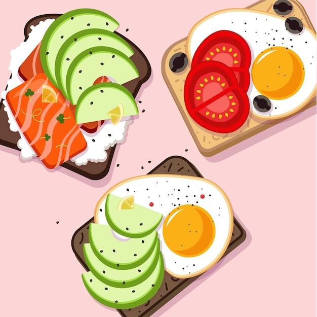 Ilustração de café da manhã em cores diferentes
