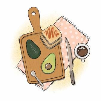 Ilustração de café da manhã na lousa de abacate e café