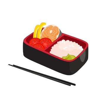Ilustração de caixa de bento japonesa, comida tradicional asiática com arroz, salmão, wasabi, tomate